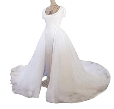 aab1c1dadc flowerry Women Ivory Color Bridal Detachable Weddnig Tulle Train Without  Lining Long Party Train XS