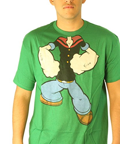 [Mad Engine Men's Popeye Bring It T-Shirt, Kelly Green, Large] (Popeye Costumes)