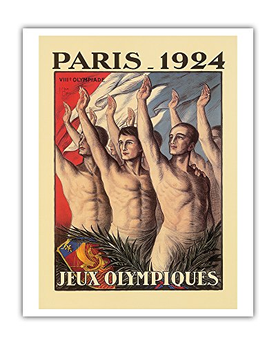 VIII Olympic Summer Games - Paris, France 1924 - Athletes in front (1924 Poster)