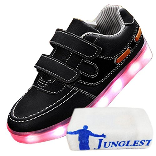[Present:kleines Handtuch]JUNGLEST® Little Boy Mädchen Kind USB Lade LED leuchten Glow beiläufige Schuh Schwarz