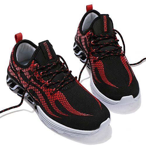 JiYe Mens Running Shoes Outdoors Lace Up Fashion Sneakers by Black Red TG991XneTZ