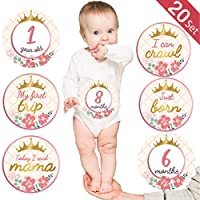 Baby Monthly Milestone Stickers, (Set of 20) Baby Belly Stickers with Crown Rose Gold Flower, Best Baby Shower Registry Gift, Scrapbook Photo Keepsake or Baby Photo Sharing Milestone Sticker.