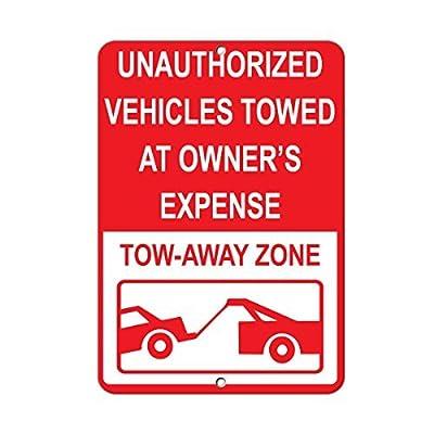 aqf527907 Unauthoriz? Ed Véhicules Marchands à détenteur Frais de Remorquer Zone en métal Signes en Aluminium Panneaux d'avertissement de sécurité en métal Fer-Blanc Plaque Yard Sign 8 x 12 Inces Cuisine & Maison