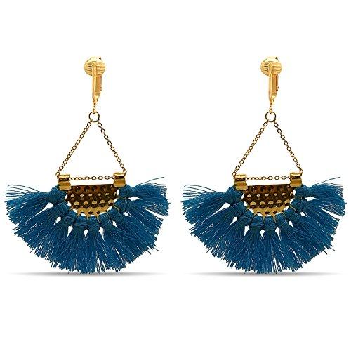 Clip Earring Shop-Clip On Tassel Earrings-Dangle Clip On Earrings Silk Tassel Long Clip Earrings Bohemian (Blue Art Deco Tassels)