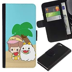 All Phone Most Case / Oferta Especial Cáscara Funda de cuero Monedero Cubierta de proteccion Caso / Wallet Case for Apple Iphone 6 // Cute Island Buddies
