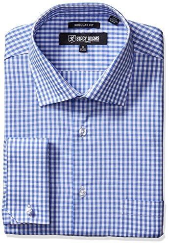 (STACY ADAMS Men's Gingham Check Dress Shirt, Blue, 15.5