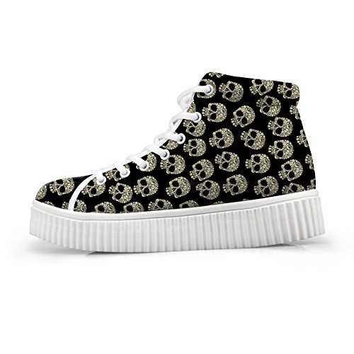HUGS IDEA Fashion Women Lace Up Platform Shoe Day of The Dead Skull Print High-top Ligh Weight Sneakers US9