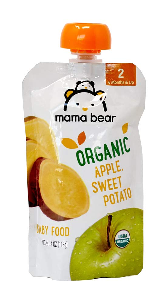 Amazon Brand - Mama Bear Organic Baby Food Pouch, Stage 2, Apple Sweet Potato, 4 Ounce Pouch