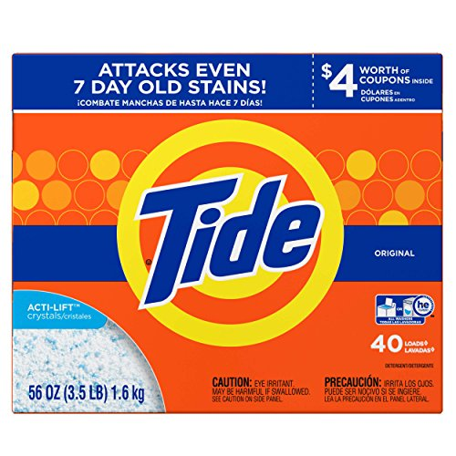 Tide HE Turbo Powder Laundry Detergent Original, 40 Loads, 56 oz- Pack of 5 by Tide T