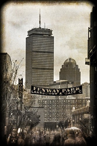 (Vintage Boston Fenway Park Wall Art, Lansdowne Street with Prudential Center and Boston Skyline)