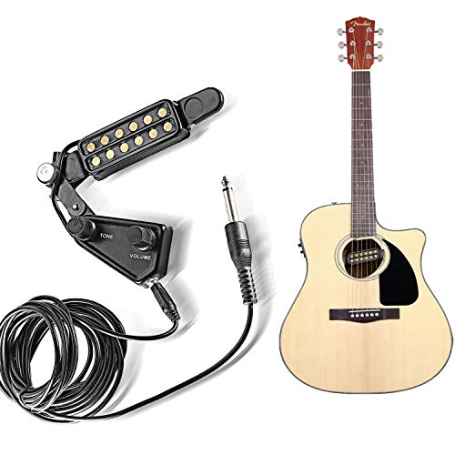 Pickup with Amp Cable Clip On Tone Volume Control for Acoustic/Electric Guitar Transducer Microphone Wire Amplifier Speaker ()