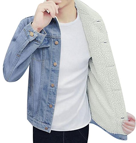 80b9a3879a9 Trendy XU Men Winter Warmth Cool Jean Jacket Fleece Quilted Denim Coats (M,  Light_Blue