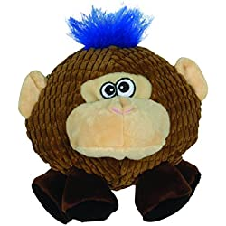 Smart Pet Love - Tender Tuffs - Ball - Tough Dog Toy - Proprietary TearBlok Technology - Round Tan Monkey