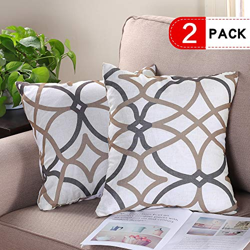 H.VERSAILTEX Pack of 2 Natural Linen Decorative Throw Pillow Covers Soft Elegant Square Cushion Case for Sofa Bedroom 18 x 18 Inch, Geo in Taupe & Brown