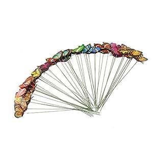Set de 50mariposas Gabbrein con varillas para decorar el jardín en fiestas al aire libre, multicolor