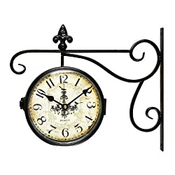 Adeco CK0005 Black Iron Vintage-Inspired Round Chandelier Double-Sided Wall Hanging Clock with Scroll Wall Mount Home Decor, Black, Off-White