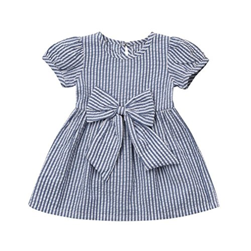 Baby Girls Infant Toddler Kids Cute Short Sleeve Stripe Dresses Big Bow Princess Outfits Dress (Blue, 6-12 -
