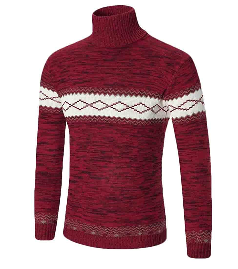 WSPLYSPJY Mens Casual Ribbed Slim Fit Knitted Pullover Turtleneck Top Sweater