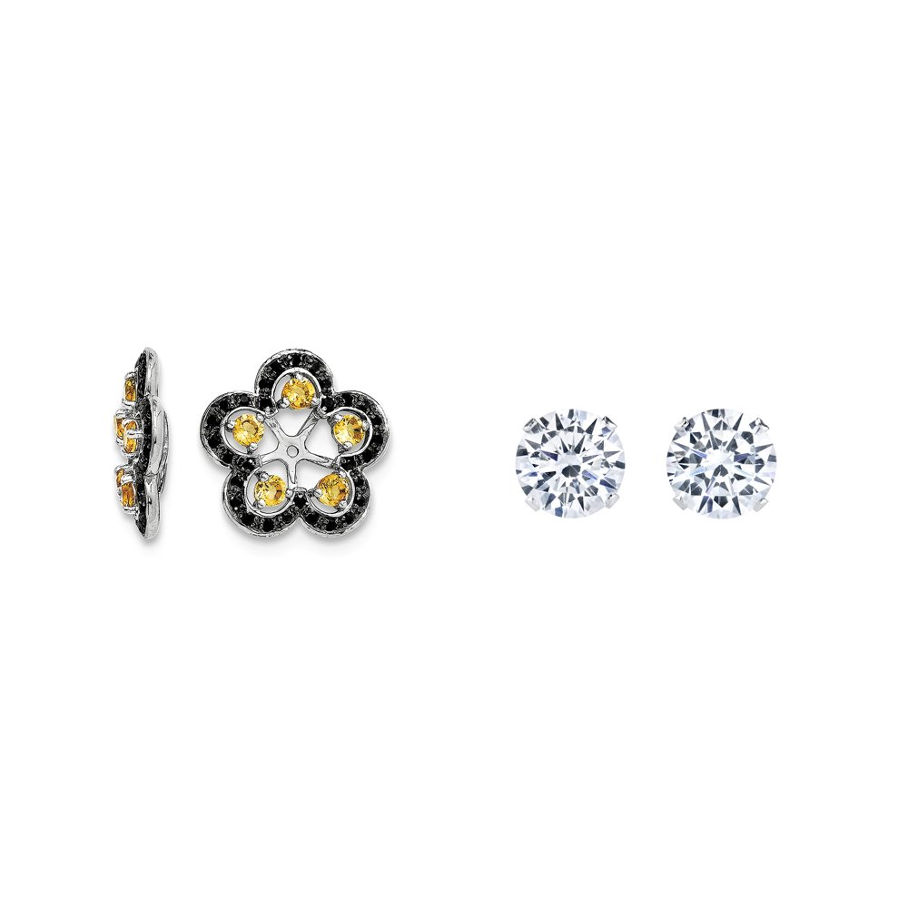 Sterling Silver Simulated Citrine, Black Simulated Sapphire Earring Jacket + 2mm CZ Stud Earrings