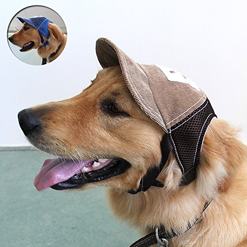 Adjustable Baseball Hats for Dogs - Cowboy Sun Hats for Dogs , Visor Sports Summer Hat for Dog Outdoor Ear Holes Sunbonnet Pet Supply by MYIDEA (L, Baseball Cap Brown)