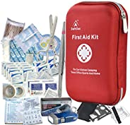 First Aid Kit - 163 Piece Waterproof Portable Essential Injuries & Red Cross Medical Emergency Equipment K