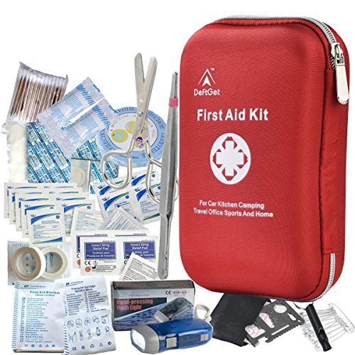 - DeftGet First Aid Kit - 163 Piece Waterproof Portable Essential Injuries & Red Cross Medical Emergency Equipment Kits : for Car Kitchen Camping Travel Office Sports and Home