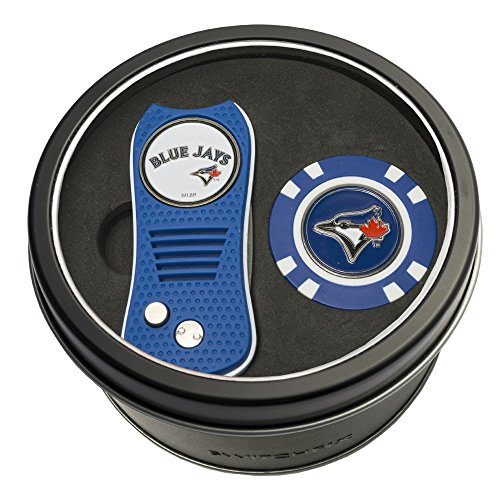 Team Golf MLB Toronto Blue Jays Gift Set Switchblade Divot Tool & Chip, Includes 2 Double-Sided Enamel Ball Markers, Patented Design, Less Damage to Greens, Switchblade Mechanism