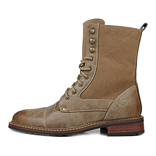 Designer Men's Fashion Dress High Top Boots Lace Up Desert Brown