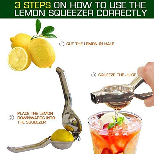 Ou Autres Fruits Orange Binnan Presse-citron Manuel en Acier Inoxydable Extracteur de jus Presse-agrumes Convient pour Citron