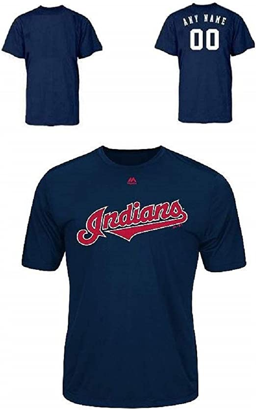 Cleveland Indians Majestic MLB Outline Logo T-Shirt Navy