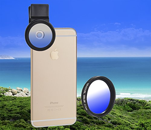 MY MIRACLE Gradual Color Lens Filter for Cellphone Lens with 37MM Filter Thread &Clip - Graduated Sunglasses Lenses