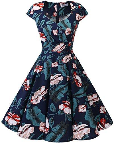 (Bbonlinedress Women Short 1950s Retro Vintage Cocktail Party Swing Dresses Navy White Flower)