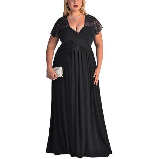 b18072a8113 Amazon.com  Gyoume Long Maxi Dress Plus Size Dress Women Shoort Sleeve Dress  High Waist Cocktail Dress  Clothing
