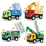 Liberty Imports Set of 6 Pullback City Builder Construction Vehicles for Kids - Dump Truck, Cement Mixer, Garbage Truck, Excavator, Crane, Postal Truck from Liberty Imports