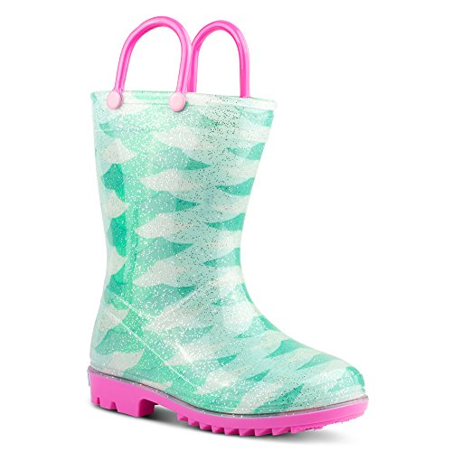 ZOOGS Children's Rain Boots with Handles, Little Kids & Toddlers, Boys & Girls, Green (Mermaid), US 9T