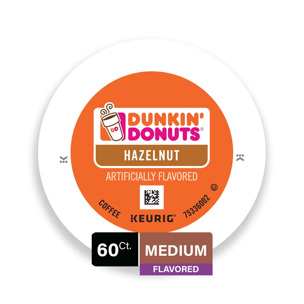 Dunkin' Donuts Medium Flavored Hazelnut Coffee, 60 K Cups for Keurig Makers