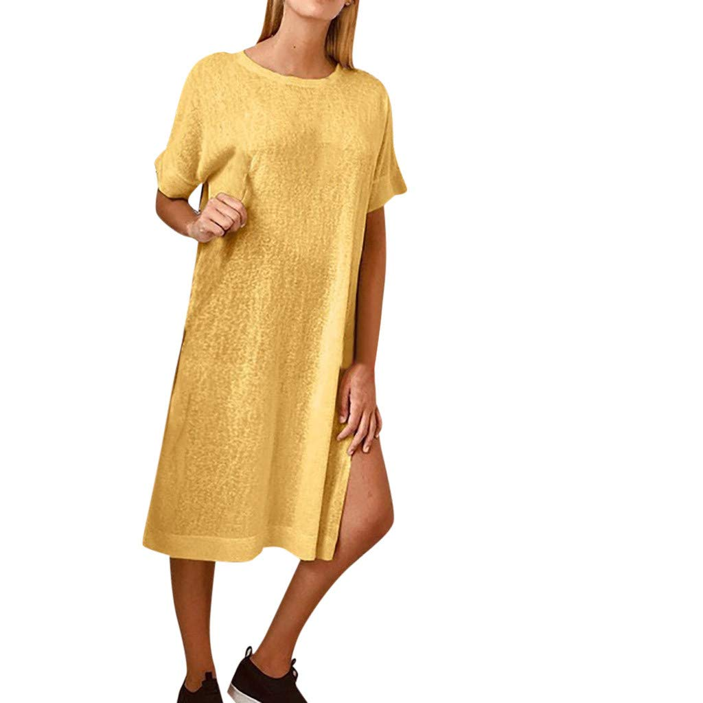 Womens Summer Loose Dresses Casual Plain Side Split Solid Short Sleeve Maxi Dress (Yellow, L)