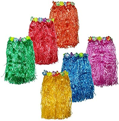 Falda Hawaiana (Pack de 6 Colores Brillantes) - 60cm de Largo ...