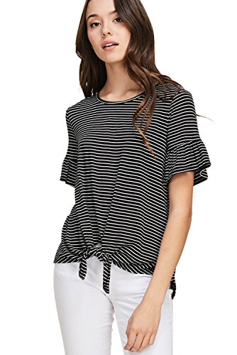 (Annabelle Women's Stripe Print Front Tie Round Neck Short Ruffle Bell Sleeve Top Black Ivory Large T1243)