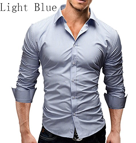 Fashion Designer Shirts for Men Long Sleeve Slim Plaid Casual Formal Spread Collar, Light Blue, - Designer Cheap Sunnies
