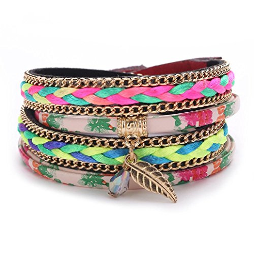 ARINLA Womens Bracelet Handmade Leather Multilayer Wristband Bangle Gift - Fashion 5 Dollars