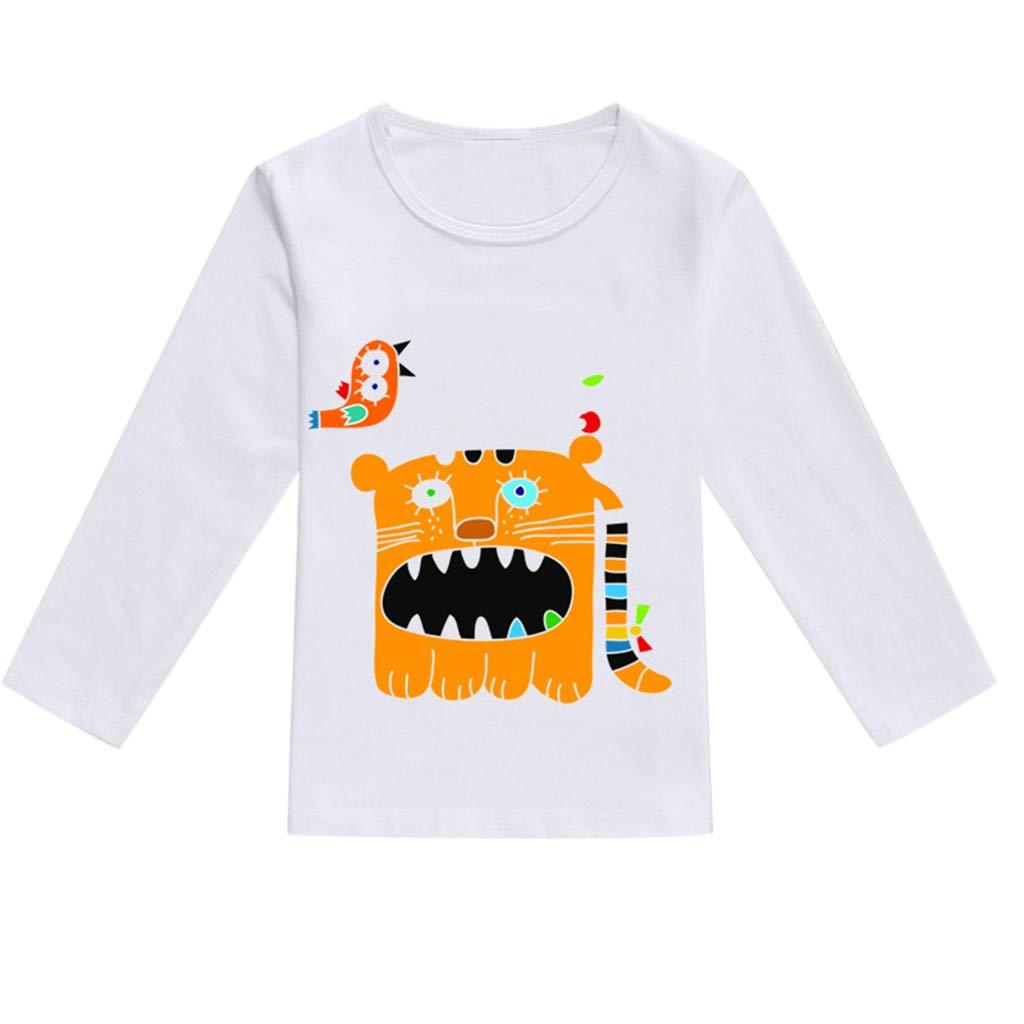 NUWFOR Toddler Baby Kids Boys Girls Spring Cartoon Print Tops T-Shirt Casual Clothes(Orange,18-24 Months)