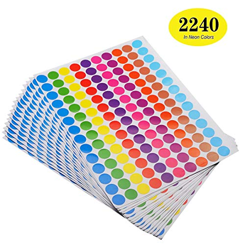 (ONUPGO Pack of 2240 Round Color Coding Labels Circle Dot Stickers, 3/4