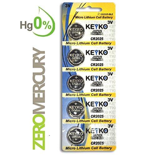 CR2025 Battery - 5 pcs Pack - 3V Lithium Buttom Coin Cell Battery Type 3.0 Volt: 2025 DL2025 ECR2025 Genuine KEYKO Supreme High Energy