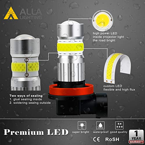 Alla Lighting 2800lm H8 H11 LED Fog Lights Bulbs Xtreme Super Bright High Power COB-72 Cars Trucks H16 H11 LED Foglights DRL Replacement, 6500K Cool Xenon White
