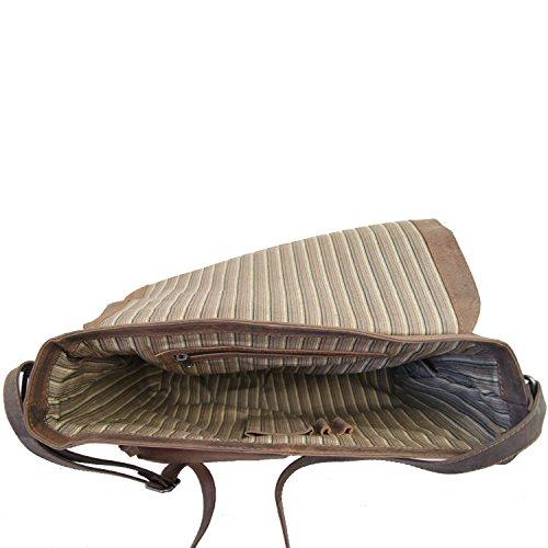 BARON de MALTZAHN - Sac en bandoulière VOLTAIRE en cuir Marron foncé compris les soins en cuir