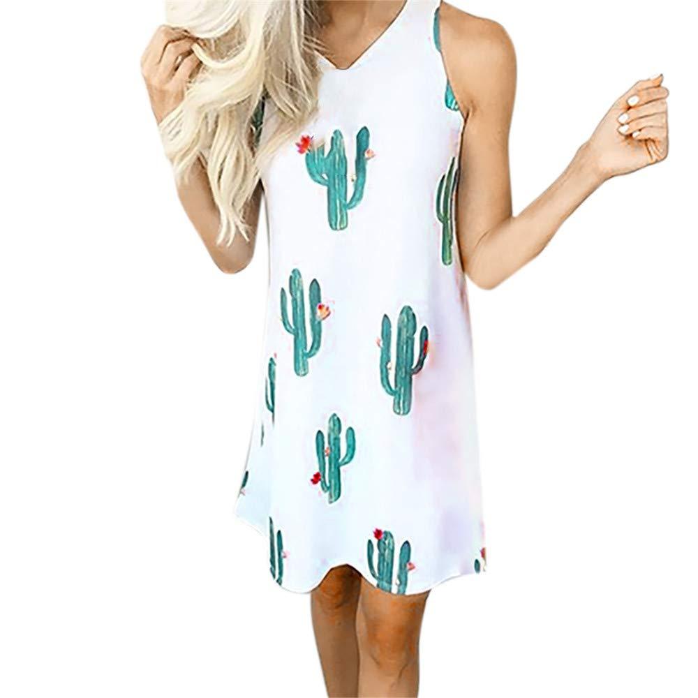 Yaseking Women's Summer Dress, Sleeveless O-Neck Cactus Print Ruffled Dress Mini Tank Dresses (M, White)