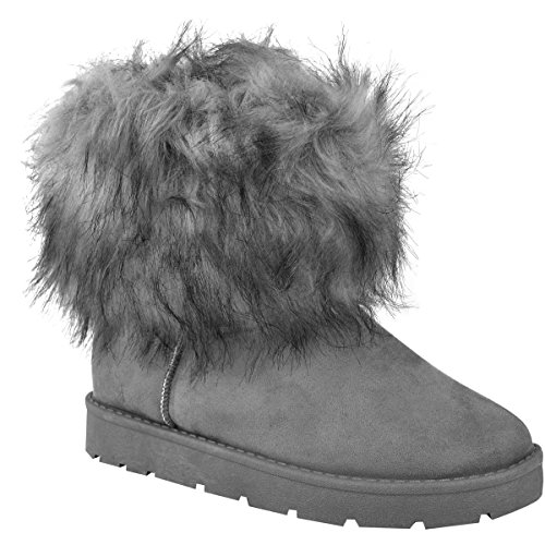 Mode Dorstige Dames Dames Flat Faux Fur Pluizige Enkellaarzen Winter Lage Hak Warme Maat Grijs Faux Suede
