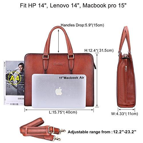 Banuce Vintage Full Grains Italian Leather Briefcase for Women Tote Handbag Attache Case 14 Inch Laptop Messenger Bag by Banuce (Image #2)