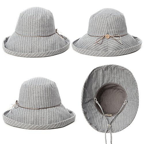Fancet Foldable Sun Bucket Hat Women Rolled Up Brim Boating Hiking UV Protection Bonnie Gardening Grey by Fancet (Image #4)